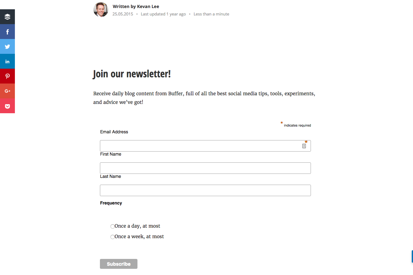 buffer newsletter form