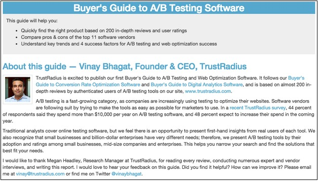 buyer's guide to a/b testing software