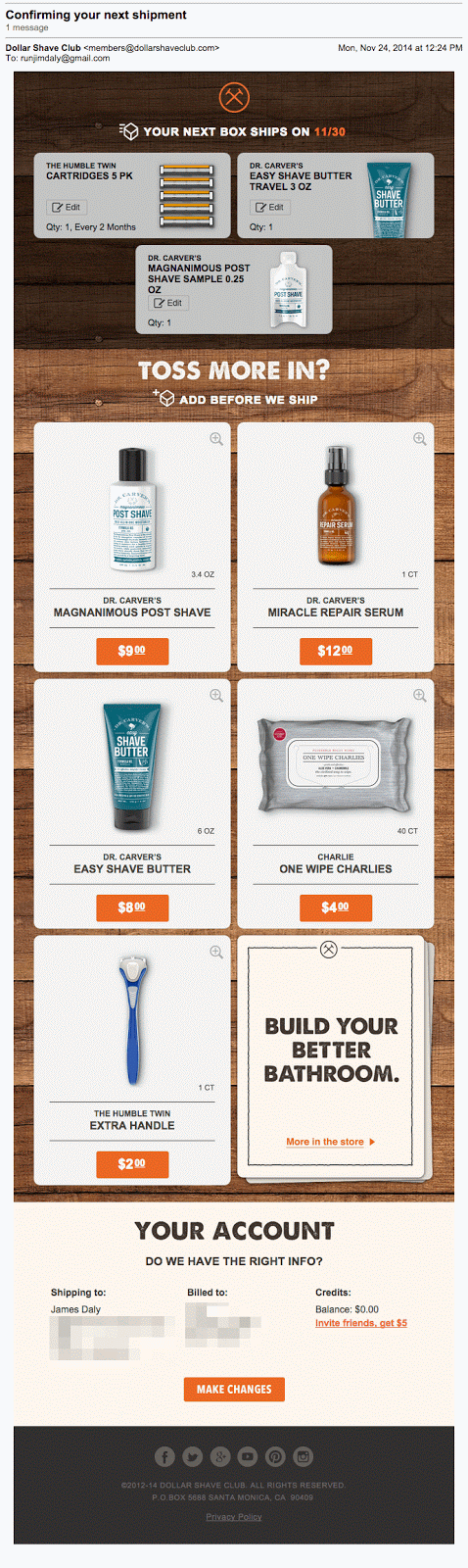 Dollar Shave Club Upsell Email