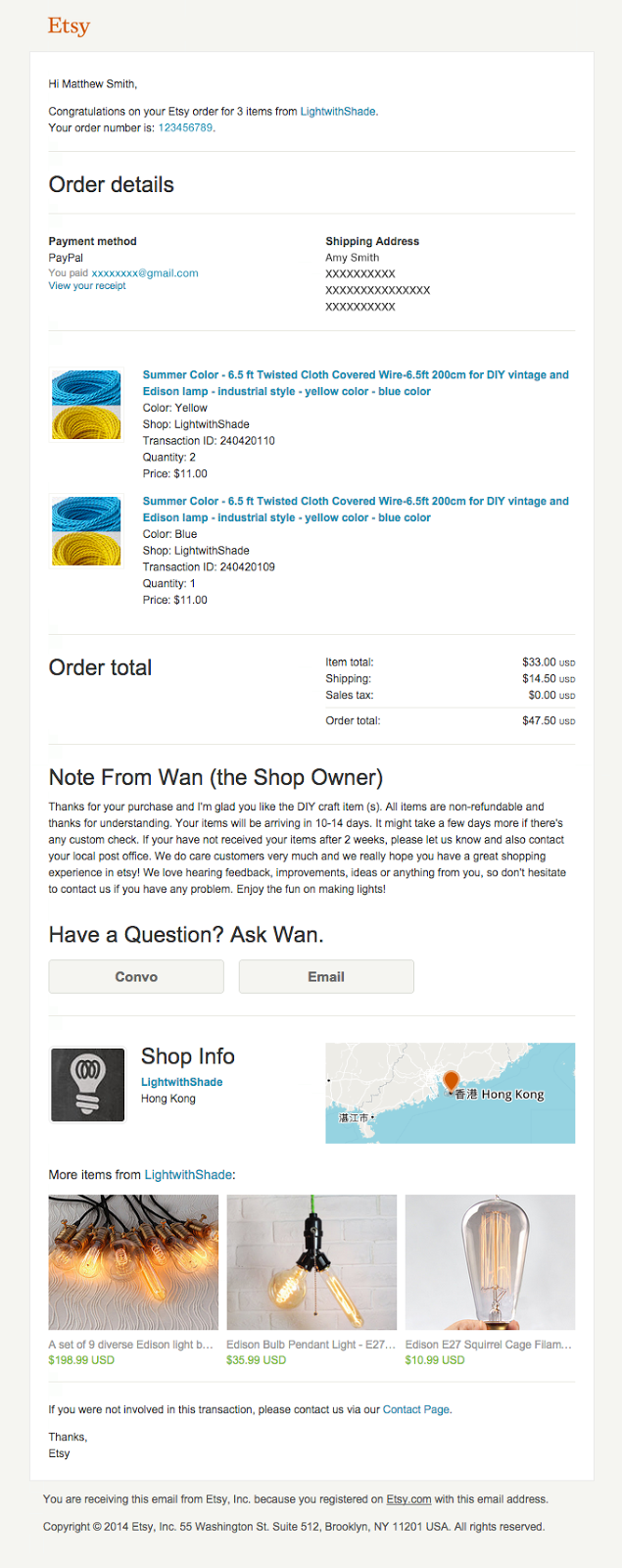 Ecommerce Receipt Email