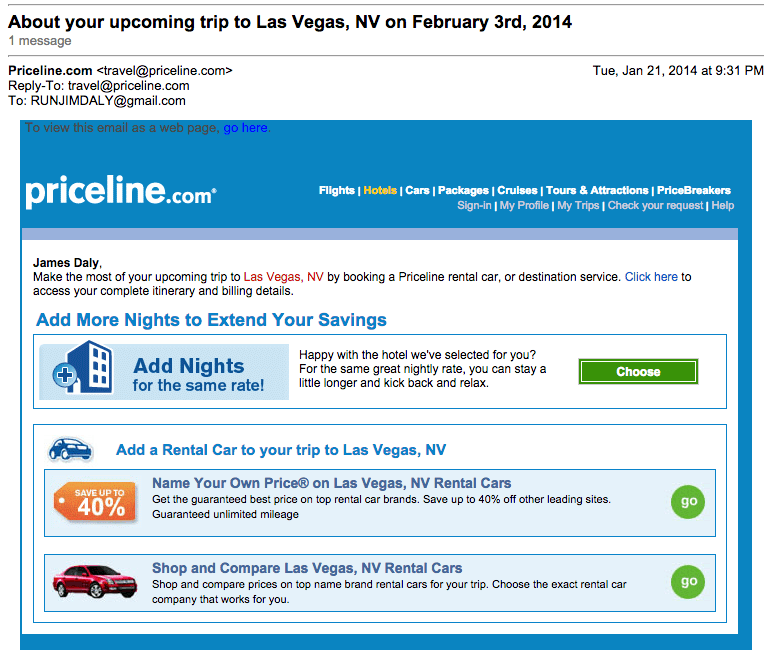 Priceline Upsell Email