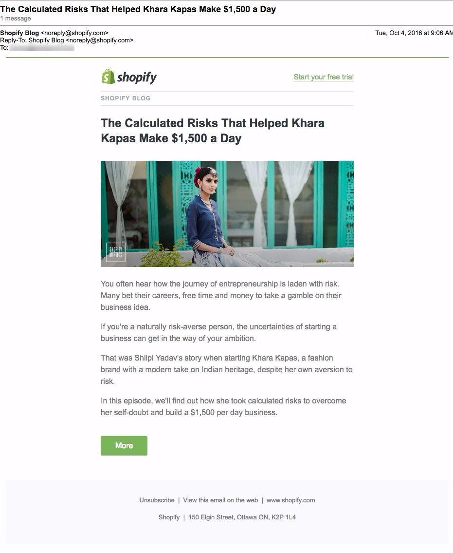 shopify pull blog email