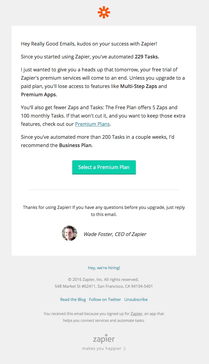 your zapier premium trial ends tomorrow