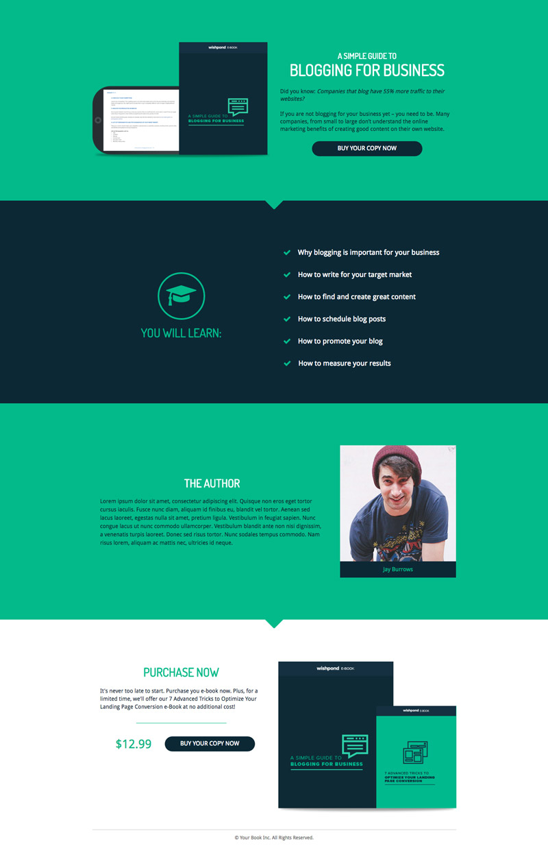 Wishpond Landing Page Template Blogging For Business Blog Ebook