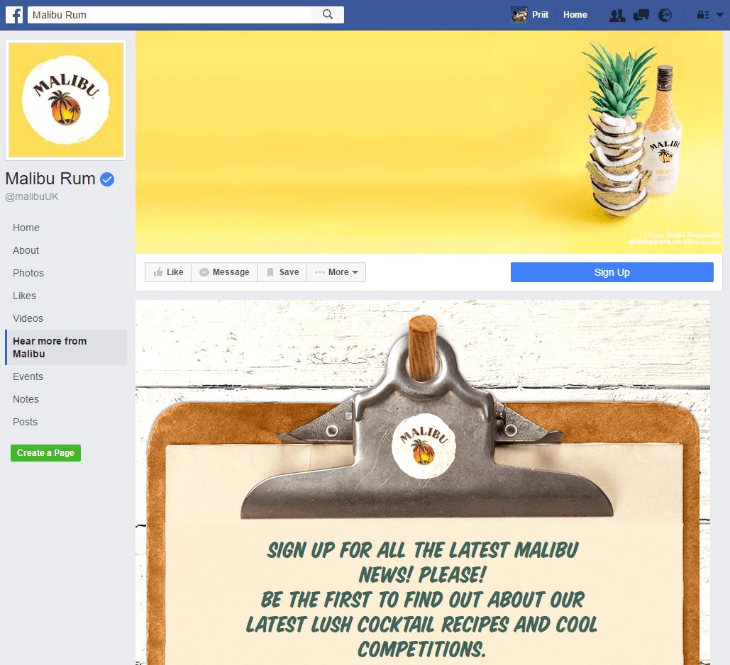 malibu rum facebook landing page