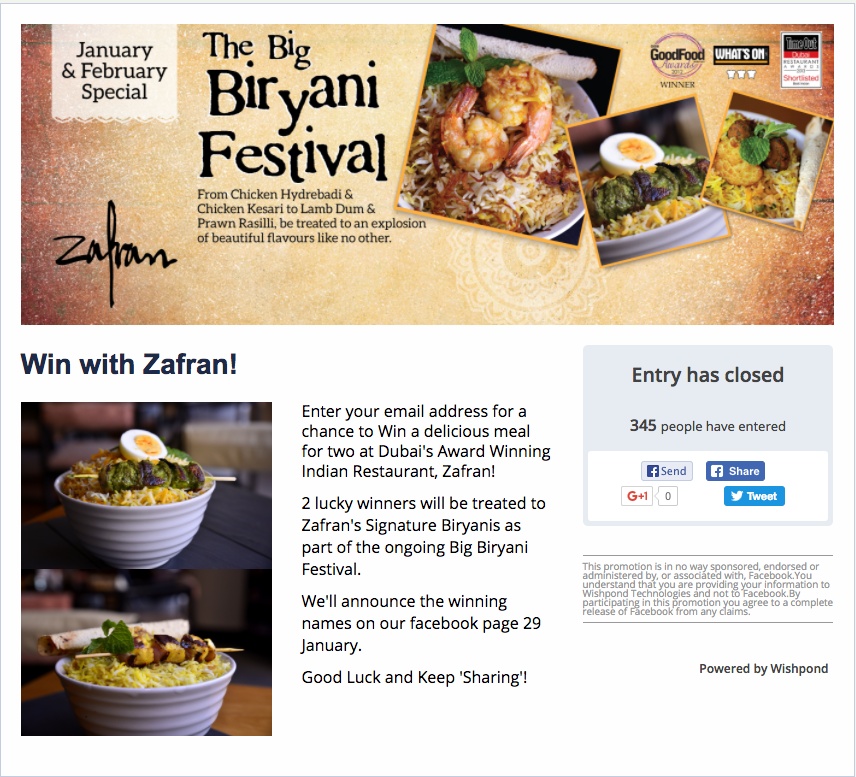 biryani festival restaurant giveaway example