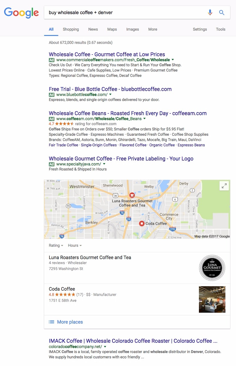 wholesale coffee roaster adwords example