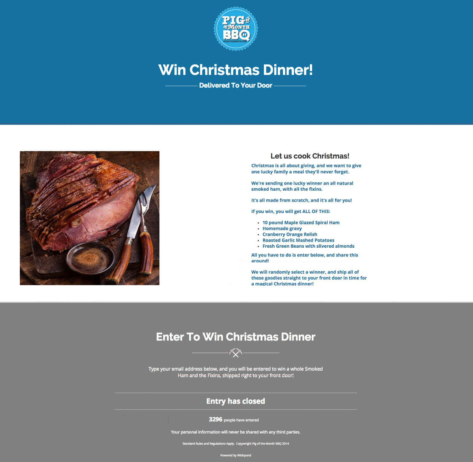 win a christmas dinner lp